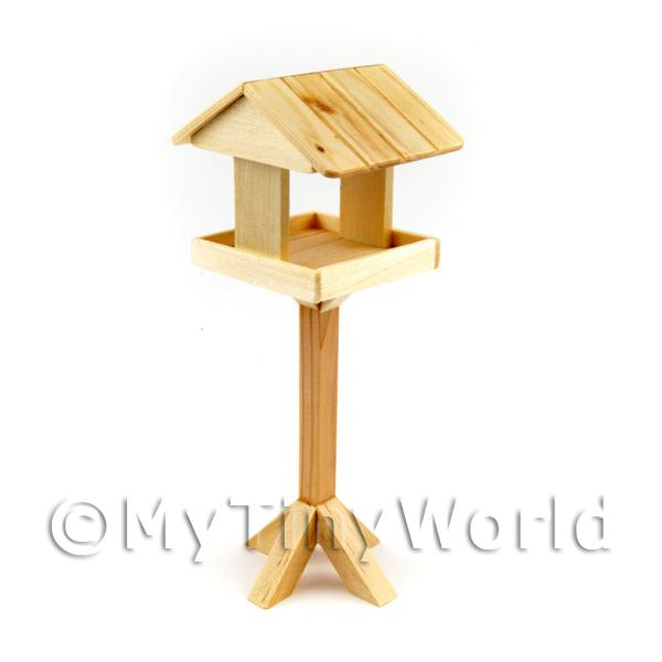Miniature Light Pine Sloping Roof Bird Table