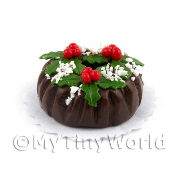 Dolls House Miniature Chocolate Christmas Cake Ring