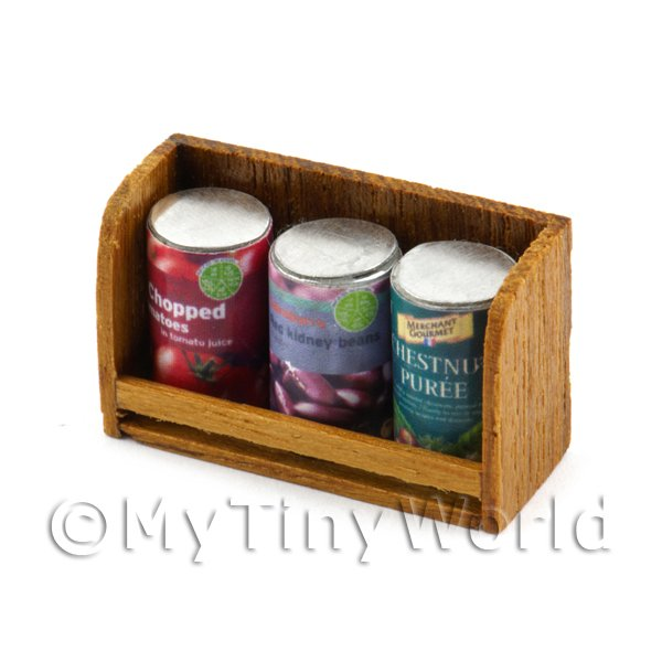 Dolls House Miniature  | Dolls House Miniature Teak Shelf & Cans (TS3)