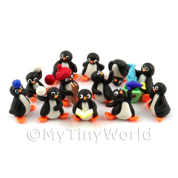 Fun Penguin Figurine Set Of 12