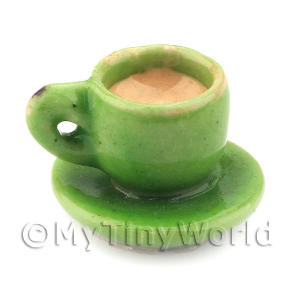 Dolls House Miniature Handmade Cup of Coffee / Tea - Green Ceramic