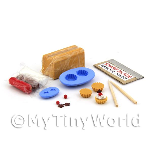 Dolls House Miniature  | Dolls House Cherry and Chocolate Star Tart Kit With Silicone Mould