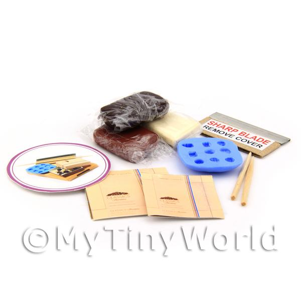 Dolls House Miniature - Dolls House 9 Piece Chocolate Making Kit With Silicone Mould