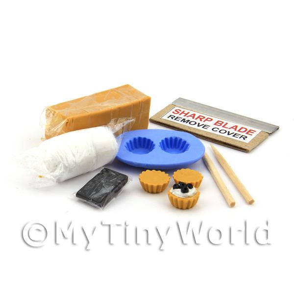 Dolls House Miniature Black Cherry Tart Kit With Silicone Mould