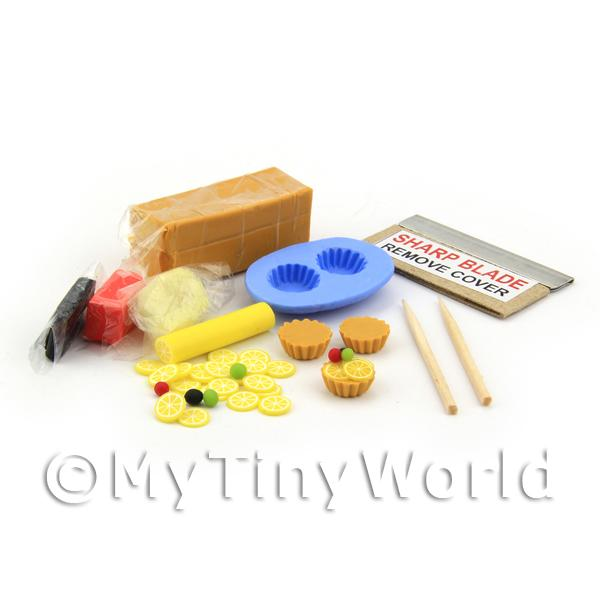 Dolls House Miniature Lemon Suprise Tart Kit With Silicone Mould