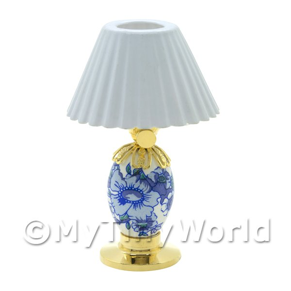 Dolls House Miniature Blue Porcelain  Lamp with White Shade