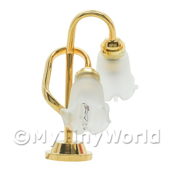 Dolls House Miniature Twin Frosted Tulip Desk Lamp