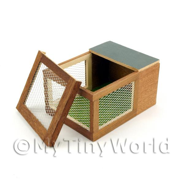 Dolls House Miniature  | Dolls House Miniature Wooden Rabbit Hutch With Removable Top