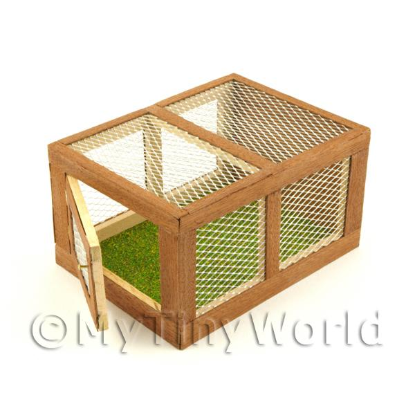Dolls House Miniature Wooden Rabbit Hutch With Front Opening Door
