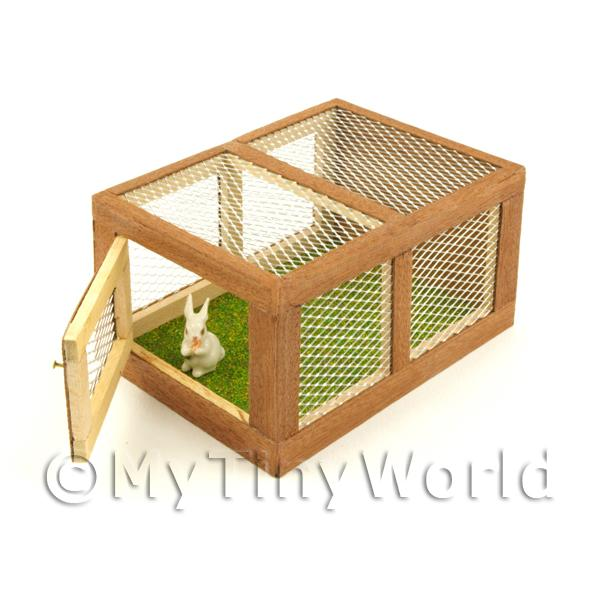 Dolls House Miniature Wooden Rabbit Hutch And Rabbit With Door