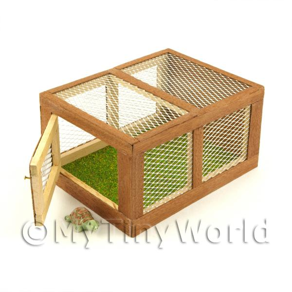 Dolls House Miniature  | Miniature Wooden Animal Hutch With Front Opening Door And One Tortoise