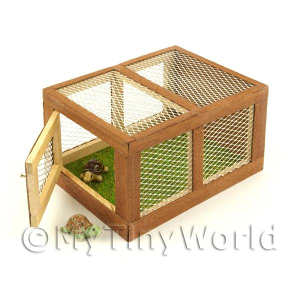 Dolls House Miniature  | Miniature Wooden Animal Hutch With Front Opening Door And Two Tortoises