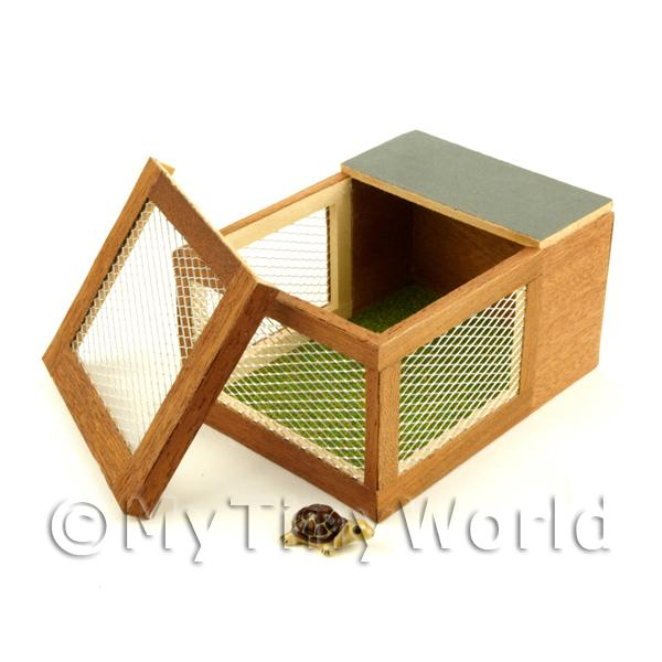 Dolls House Miniature Wooden Animal Hutch With A Brown Tortoise