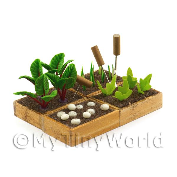 4 Miniature Garden Wooden Crates With Growing Vegetables