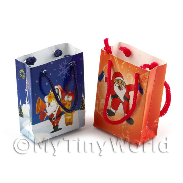 Dolls House Miniature Set of  2  Christmas Gift Bags