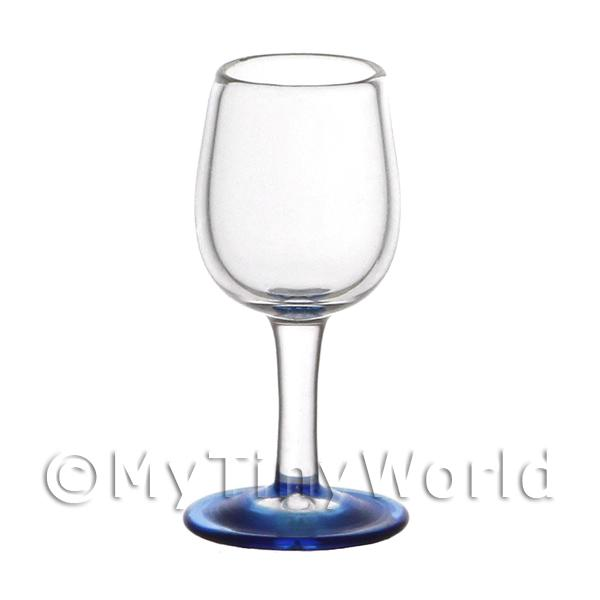 Dolls House Miniature Handmade  Goblet with Blue Tinted Glass Base