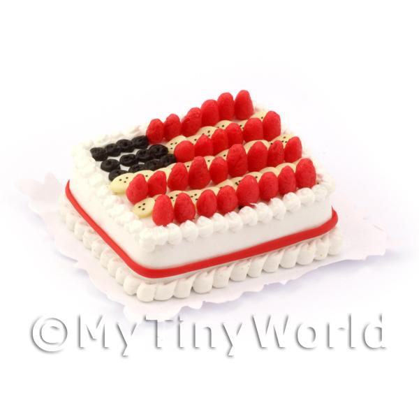 Dolls House Miniature Stars Stripes Cake