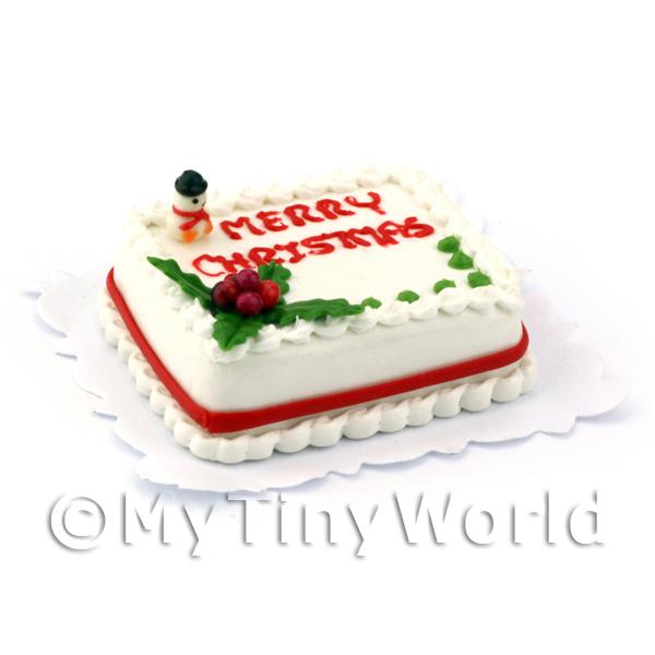 1/12 Scale Dolls House Miniatures  | Dolls House Miniature Merry Christmas Cake