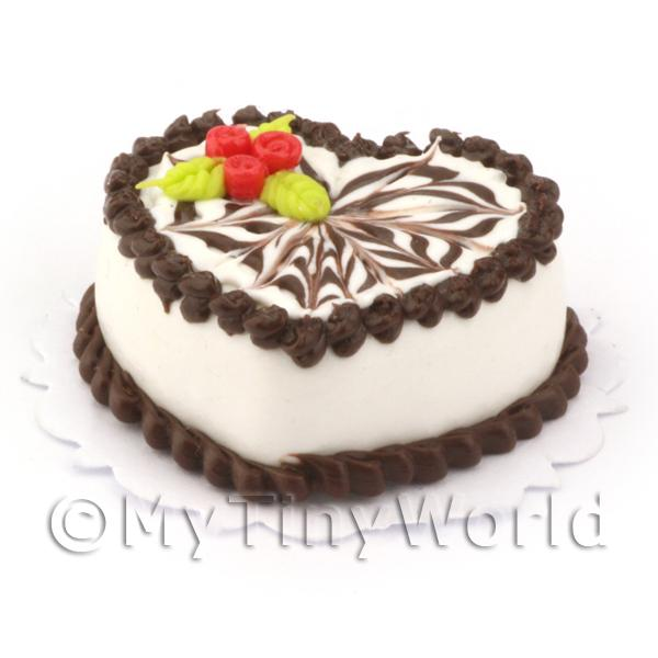 Miniature White Iced Heart Cake With Fancy Iced Design