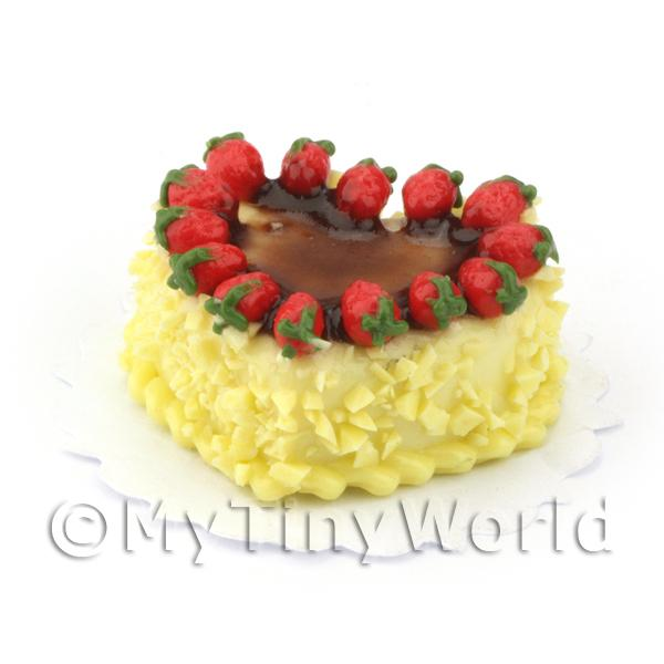 Miniature White Chocolate Heart Cake Topped With Strawberries