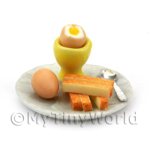 Dolls House Miniature Boiled Egg With Top off in Yellow Egg Cup
