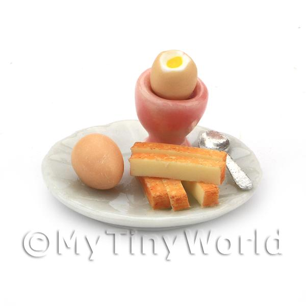 Dolls House Miniature Boiled Egg with the Top off in a Pink Egg Cup