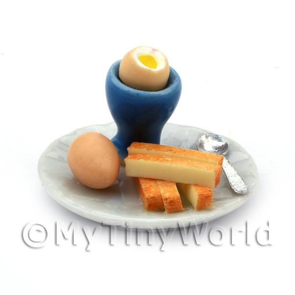 Dolls House Miniature Boiled Egg With the Top off in a Blue Egg Cup