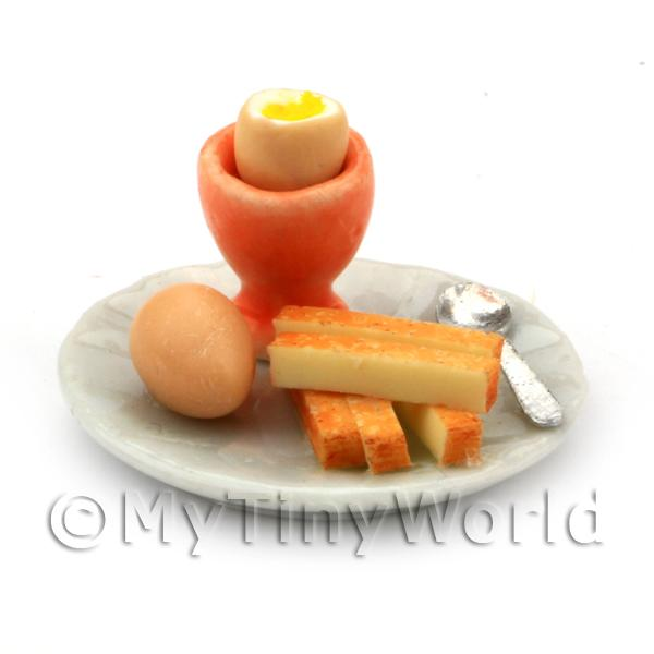 Dolls House Miniature Boiled Egg With the Top off in a Orange Egg Cu