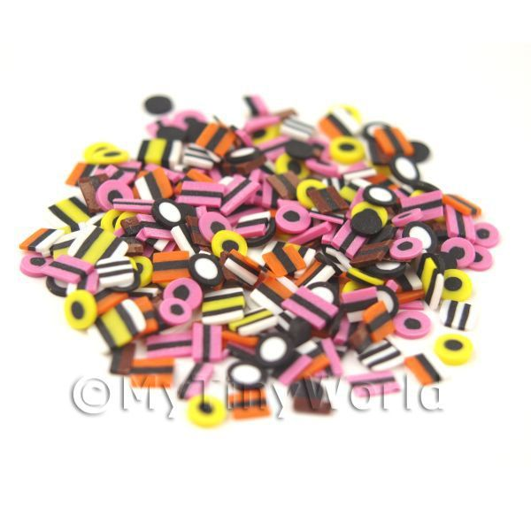 Dolls House Miniature  | 50 Liquorice All Sorts Cane Slices