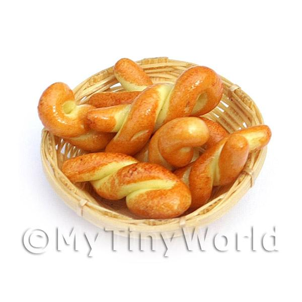 6 Dolls House Miniature Pastry Twists In A Small Basket