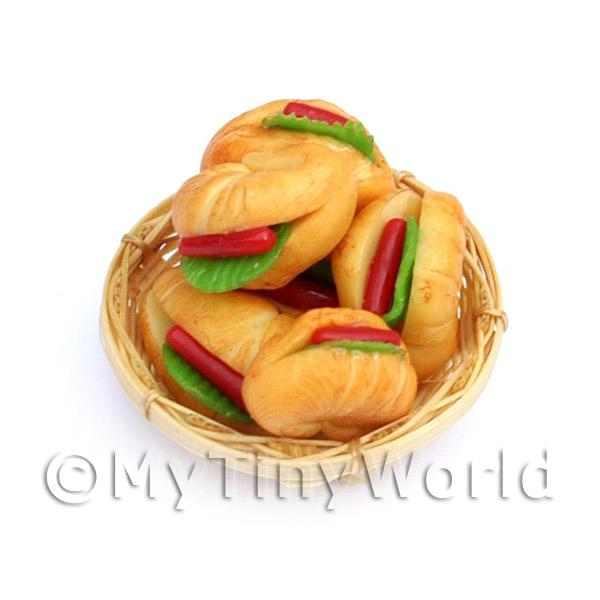 6 Miniature Filled Croissants In A Small Basket