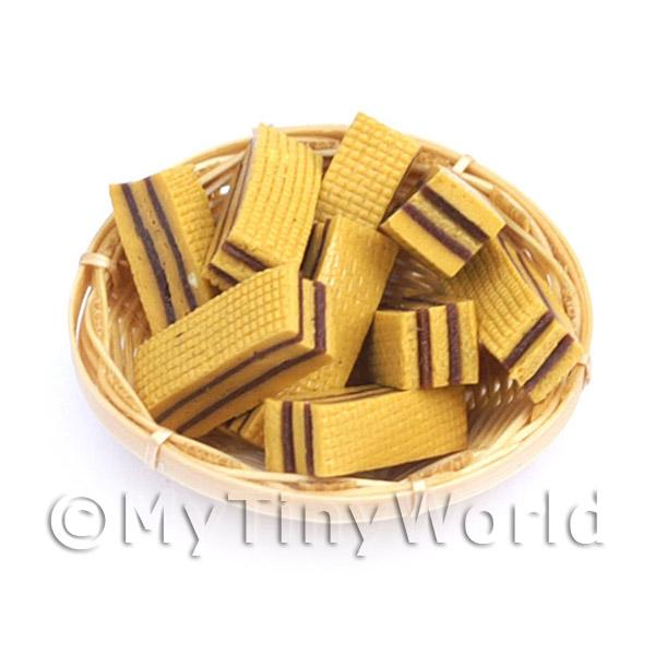 12 Dolls House MiniatureToffee Wafers In A Small Basket