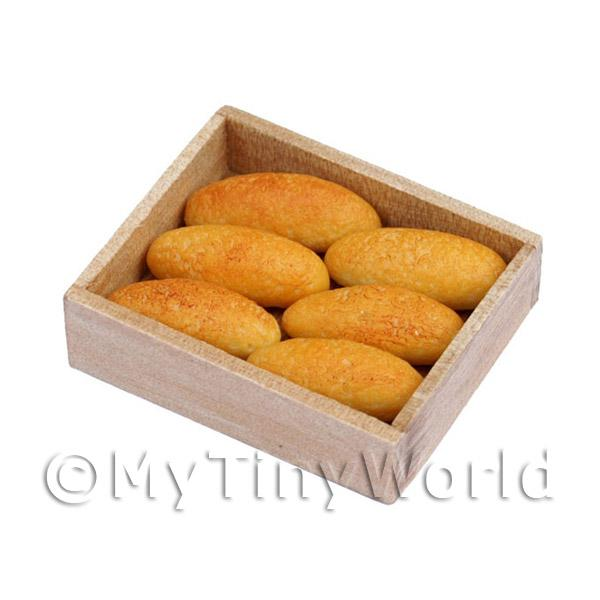 Dolls House Miniature French Cobs In a Bakers tray