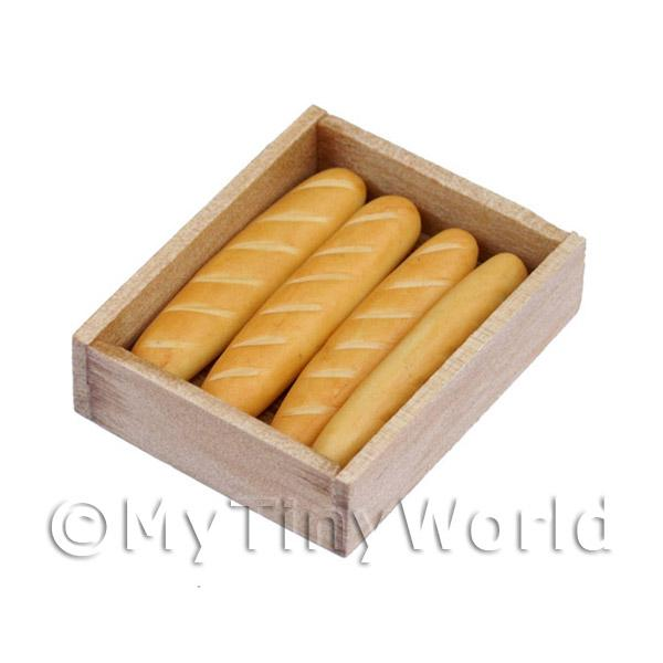 Dolls House Miniature  | Dolls House Miniature Baguettes In A BakersTray
