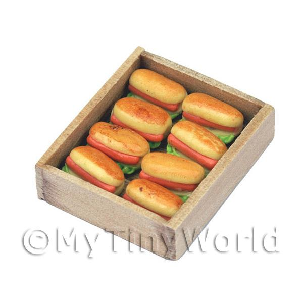 Dolls House Miniature Hot Dogs In A Wooden Tray