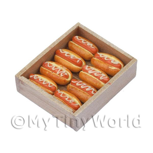 Miniature Hot Dogs With Sauce In A Bakers Tray