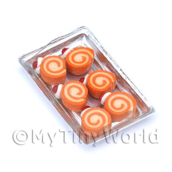 Dolls House Miniature Orange Roulades On A Tray