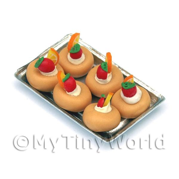 Dolls House Miniature  | Miniature Fruit Topped Cakes On a Tray
