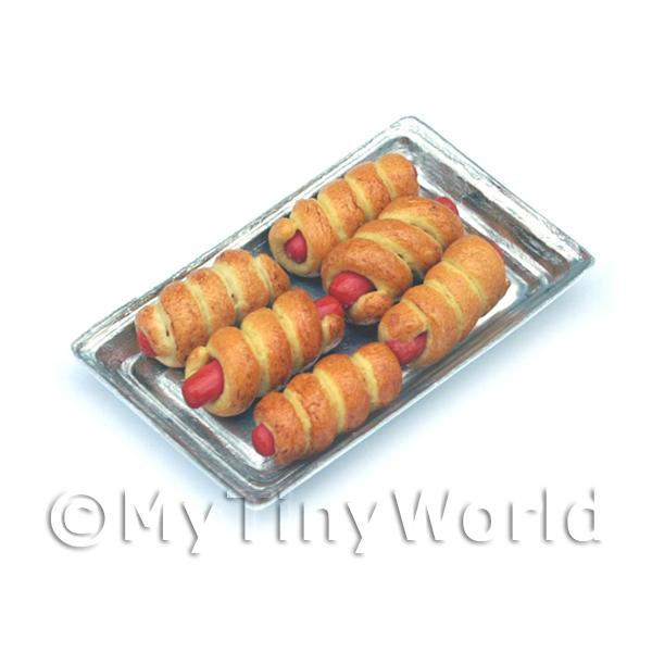 Dolls House Miniaturre Wrapped Sausages On A Metal Tray