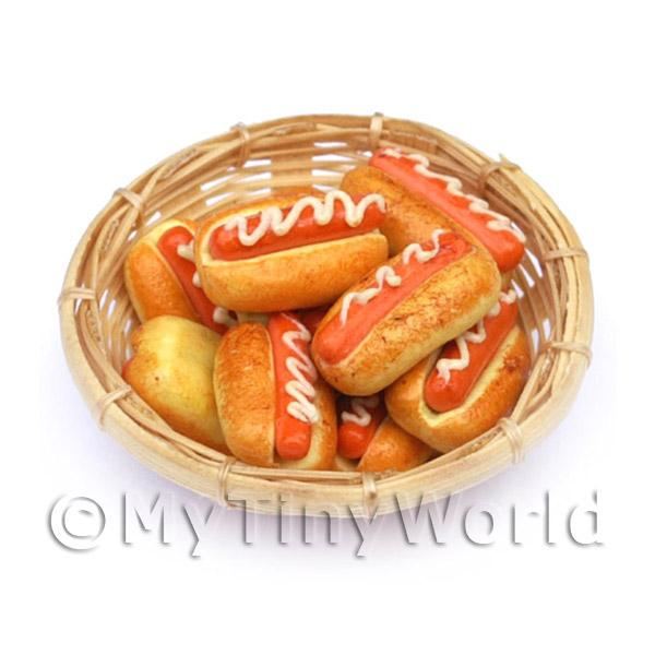 9 Miniature Hot Dogs In A Large Basket