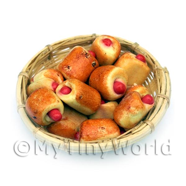 12 Dolls house Miniature Sausage Rolls In A Large Basket