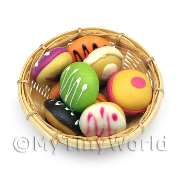 9 Dolls House Miniature Round Iced Buns In A Large Basket