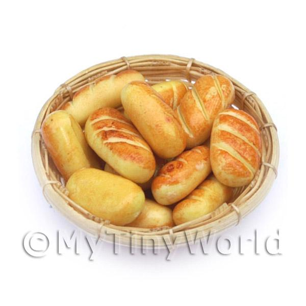 1/12 Scale Dolls House Miniatures  | Dolls House Miniature 12 Bread Rolls In A Large Basket
