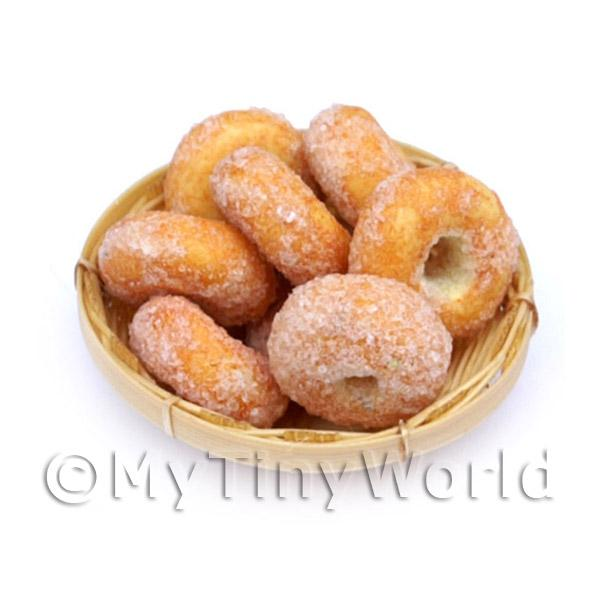 8 Dolls House Miniature Ring Donuts In A Small Basket