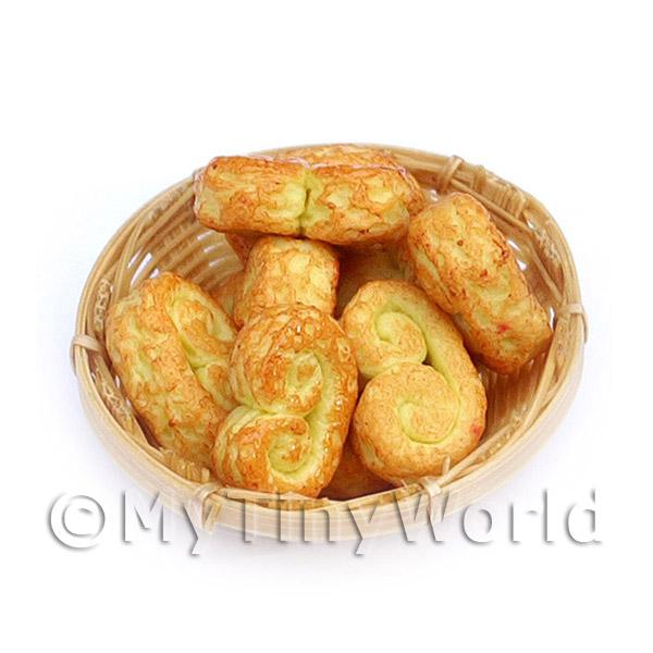 6 Dolls House Miniature Cheesy Swirls In A Small Basket