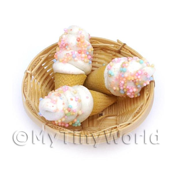1/12 Scale Dolls House Miniatures  | 3 Dolls House Miniature Marshmallow Cones In A Small Basket
