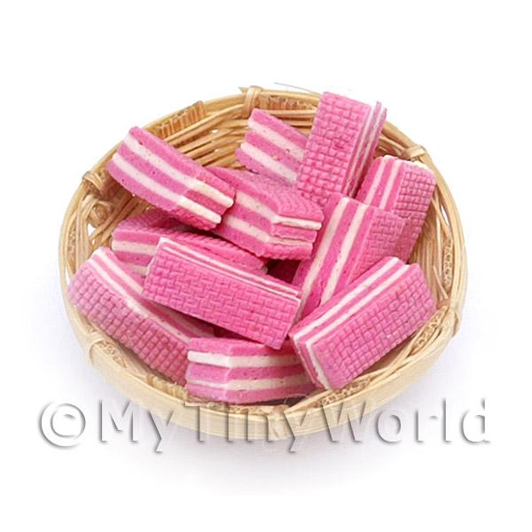 Dolls House Miniature  | 12 Dolls House Miniature Pink Wafers In A Small Basket