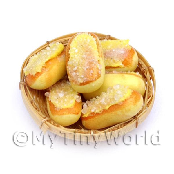 6 Dolls House Miniature Iced Buns In A Small Basket