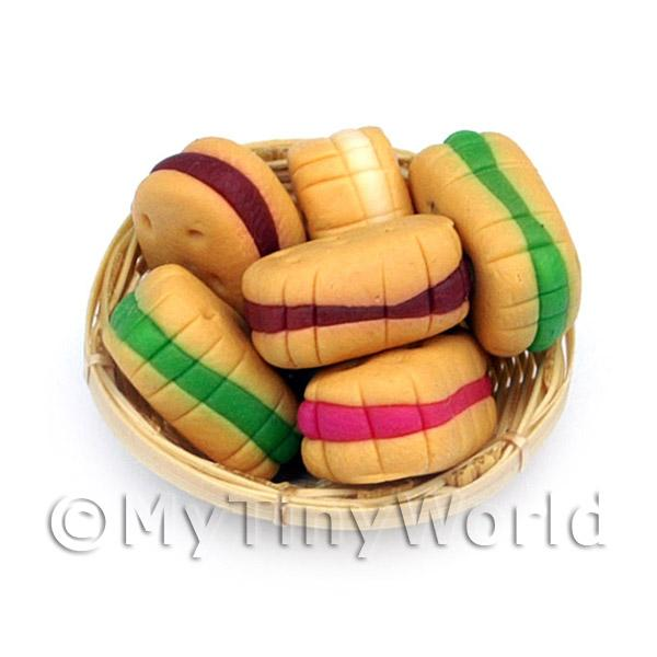 6 Miniature Filled Biscuits In A Small Basket