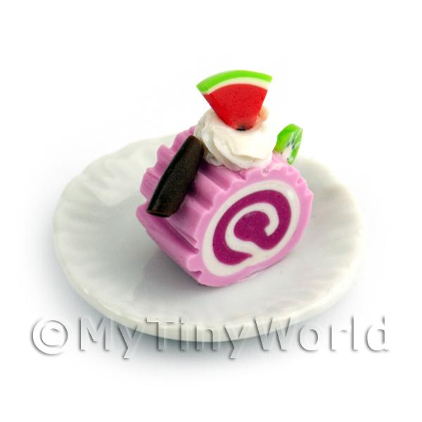 Dolls House Miniature  | Dolls House Miniature Slice Of Raspberry Roulade On A Plate (PR4)